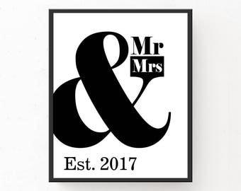 2017 Wedding Print, PRINTABLE WEDDING GIFT, Mr & Mrs Print, Minimalist Print, Modern Bedroom Decor, 2017 Wedding Poster, Mr and Mrs Print