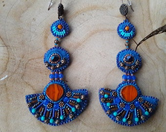 Bohemian pair of embroidered earrings.