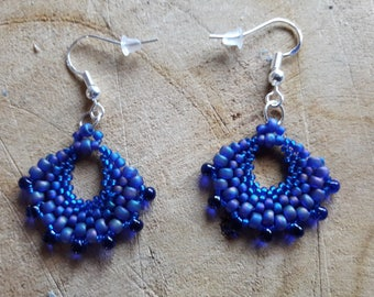 Pair of earrings in shades of seed beads to choose or request custom color.