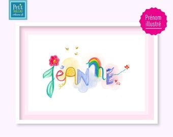 Table name JEANNE - framed A4 - an original gift for a birth, anniversary, or your child's room