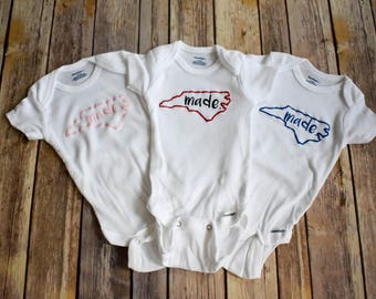 NC North Carolina State outline Made Bodysuit *Personalize with your state! See description for details