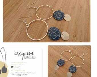 "Earrings ""marine seigaiha pattern TRIO"
