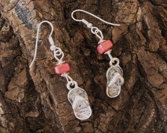 Ceramic earrings square Fuchsia with silver tong.