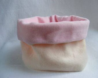Girl Snood fleece reversible pink and ecru