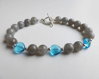 semi-precious labradorite and blue heart bracelet
