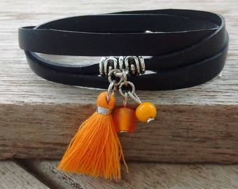 Orange tassel bracelet - bracelet strap in recycled bicycle inner - orange tassels - MULTISTRAND Bracelet Bracelet