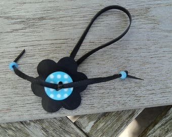 Flowers anklet in inner tube recycled and blue button with white polka dots