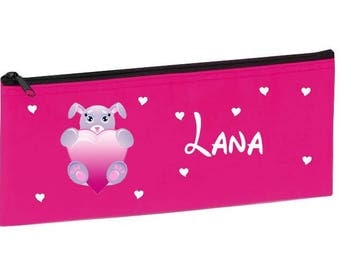 School Kit pink rabbit heart personalized with name