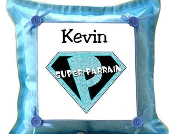 Blue cushion Superparrain personalized with name