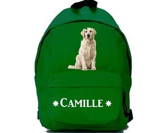 bag has green Golden reetwiller personalized with name