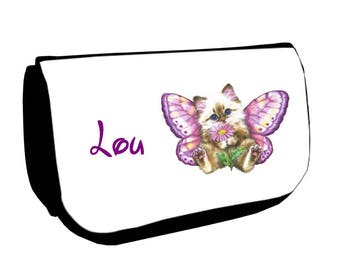 Cosmetic case Black /crayons kitten Butterfly personalized with name