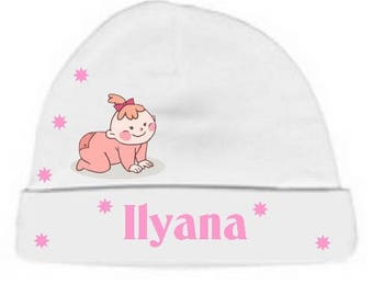 White baby girl Hat personalized with name