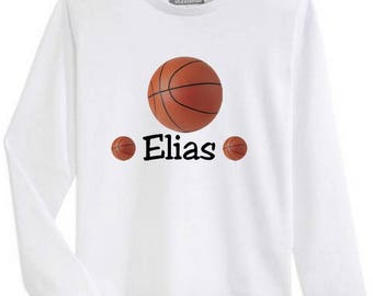 T-shirt boy long sleeve basketball personalized with name