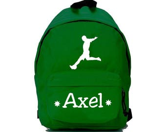 Green football backpack personalized with name
