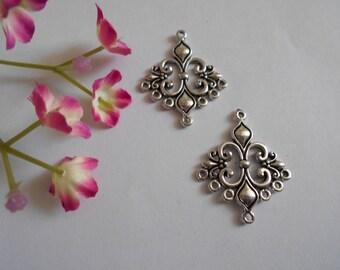 x 2 chandelier pendants silver 36 x 30 mm