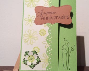 Soft green floral triptych birthday card and envelope