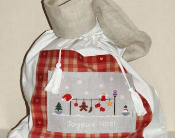 Embroidered pouch, Christmas, decoration, large-