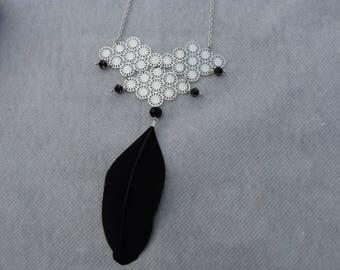 Silver feather bib necklace black