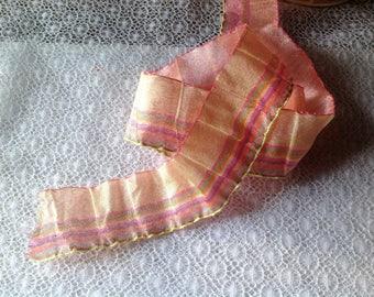 Vintage salmon pink crinkle effect Ribbon