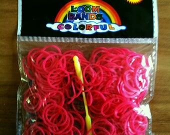 260 red elastics - 10 - 1 hook - 1 stand loom clasps