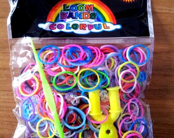 260 colorful elastic - 10 - 1 hook - 1 stand loom clasps