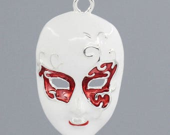 White and red enameled mask T 13 charm