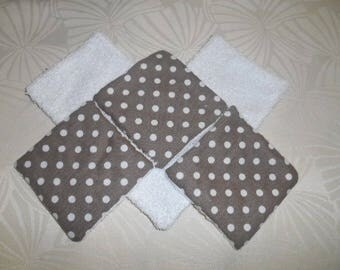 set of 6 wipes cleansing bamboo - taupe white polka dots