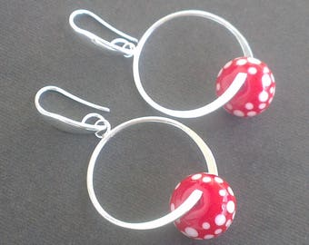 Spiral earrings - white dots on red glass beads