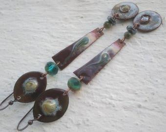 Large ethnic - enameled copper - Czech glass, Jasper and hematite