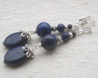 Variation of lapis lazuli: Silver dangle earrings