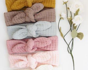 Bandeau / headband nid d'abeille 100% coton pour les petites et les grandes