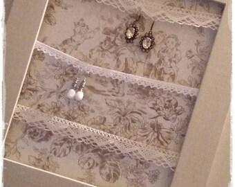 Cadre porte bijoux patiné argile et ciré ombre
