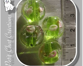 4 Green Apple LIME PEBBLES PELLETS hand blown LAMPWORK 14x8mm beads * L260