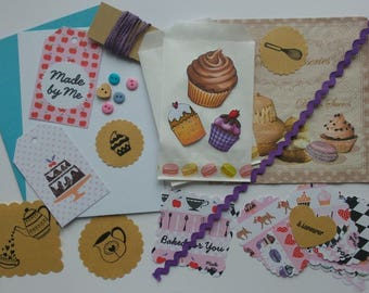 Set of 50 goodies, treats theme, kitchen, bakery