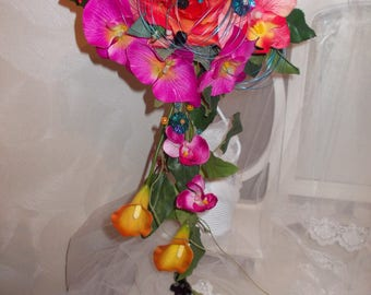 orange fuchsia bridal bouquet;