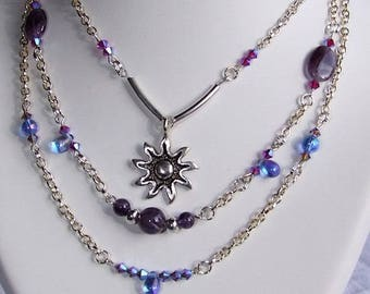 "Necklace 3 rows ""Amethyst dreams"" / VINT7 collar"