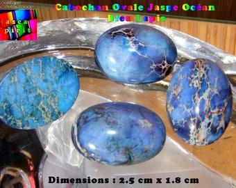 Cabochon blue Lapis 2.5 clear Aquaterra Jasper oval make flat cm x 1.8 cm