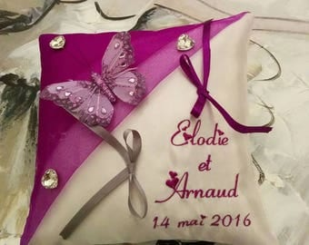 Ring pillow personalized butterflies purple tone or other / holder / wedding pillow