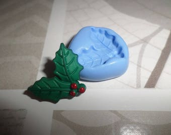 Holly leaves. molds flexible for fimo 2cm