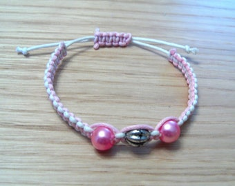 Shamballa bracelet in pink and white