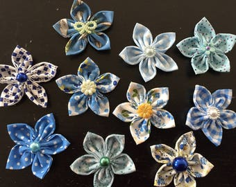 10 flowers kanzashi fabric flower, hand made, to customize your creations, embellishment purse, hairclip, brooch, scrapbooking, flower jewelry