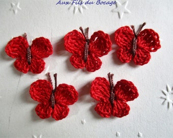 Butterflies crocheted in red cotton, set of 5