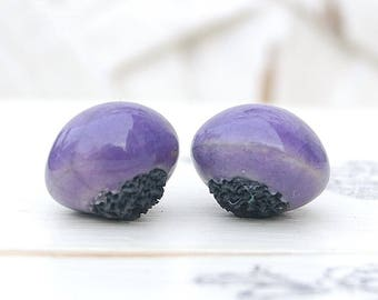 Reserved LD, round, raku pottery, Violet, lilac, ethnic bead