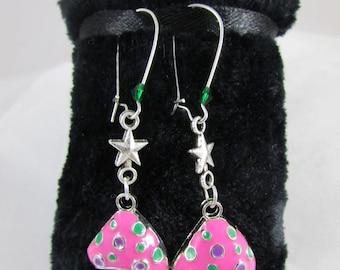 """Earrings in Silver """"Pink mushrooms"""""""