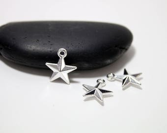 "set of 20 ""Star"" silver charms pendants"