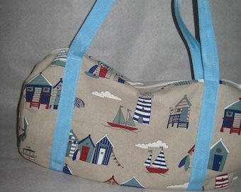 """Beach huts"" cotton pool bag"