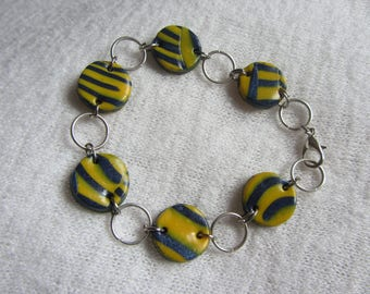 Bracelet chain bracelet, mother of bright yellow and Navy striped polymer clay iridescent, rings and silver plated lobster clasp