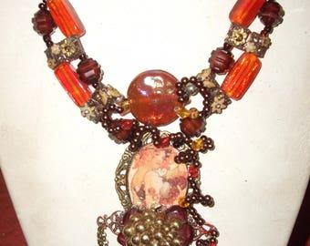 Designer necklace art nouveau woman and the harvest