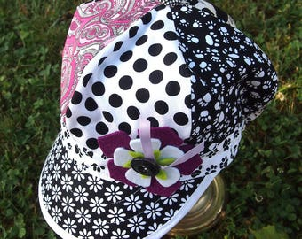 Pink black white Bohemian newsboy cap