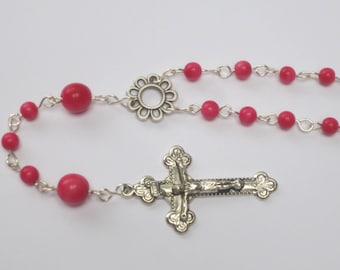 Rosary with ivory vegetable rose entirely plated silver anti tarnish